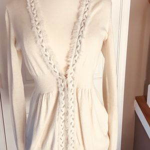 Cream cardigan w/Hook closure and braided trim